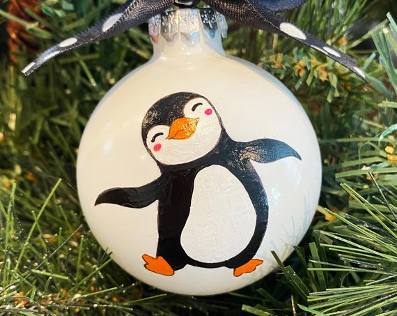 Personalized Hand Painted Penguin Christmas Ornament