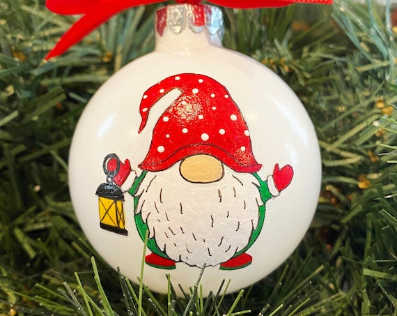 Personalized Hand Painted Christmas Gnome with Lantern Ornament