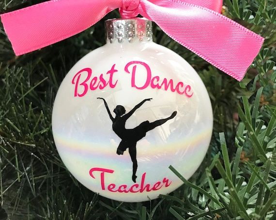 "Personalized ""Best Dance Teacher"" Christmas Ornament - Ballet Teacher Ornament"