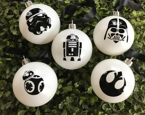 Personalized Set of Five Star Wars Inspired Silhouette Christmas Ornaments