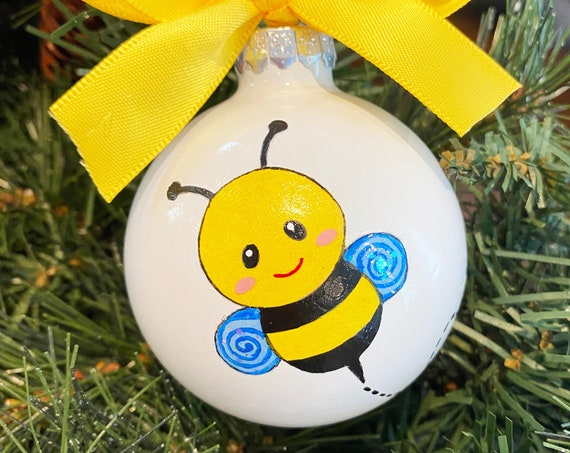 Personalized Hand Painted Bumble Bee Christmas Ornament