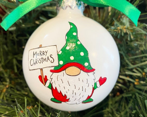 Personalized Hand Painted Christmas Gnome Ornament