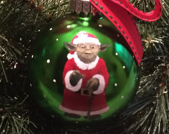 Personalized Santa Yoda Inspired Christmas Ornament