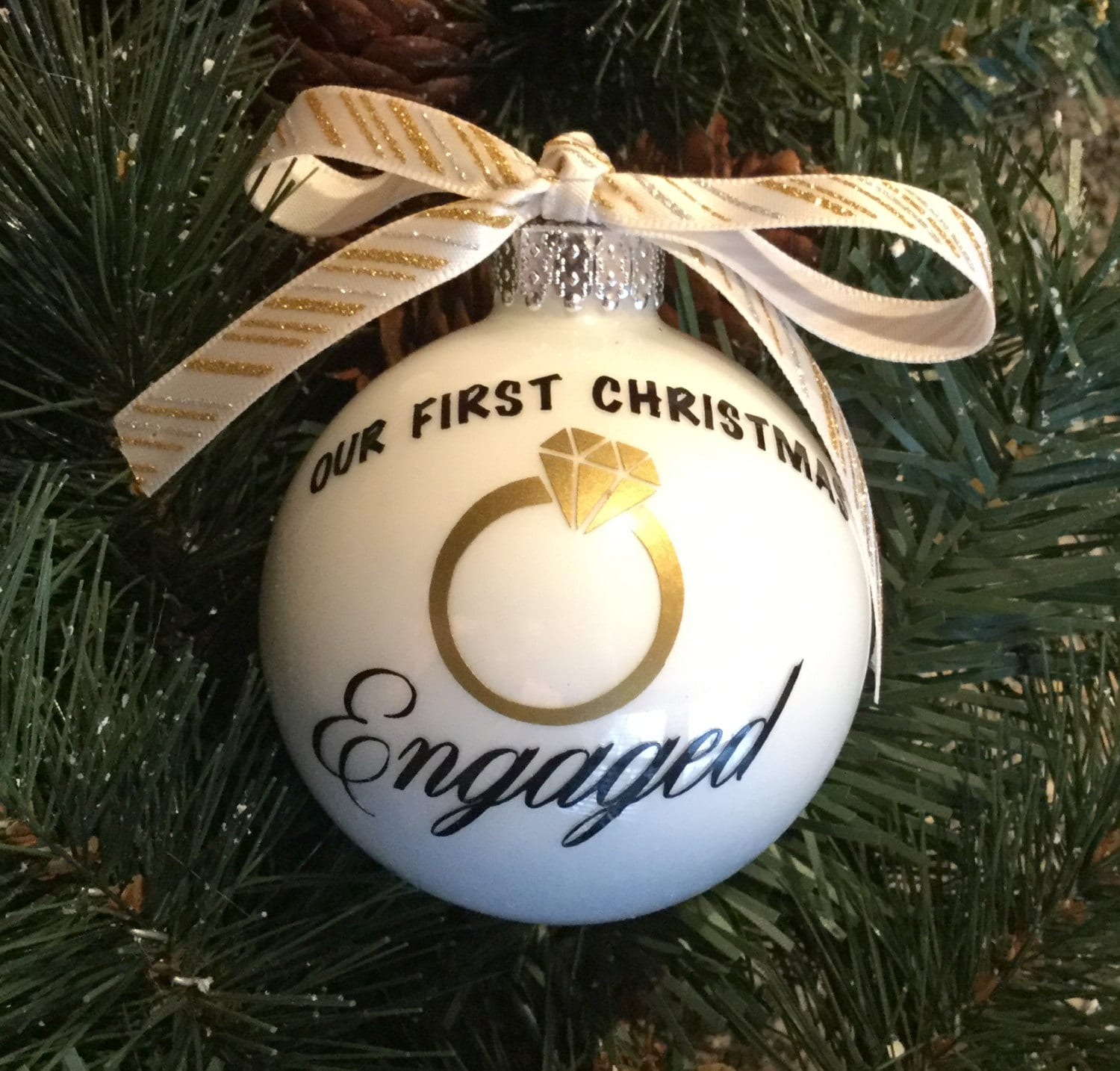 Our First Christmas Engaged Ornament - Engagement Ornament ...