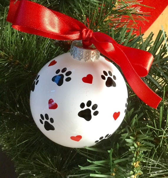 CUSTOM DOG ORNAMENT custom valentine gift for dog owner personalized dog name and paw print large heart shaped ornament on white ceramic