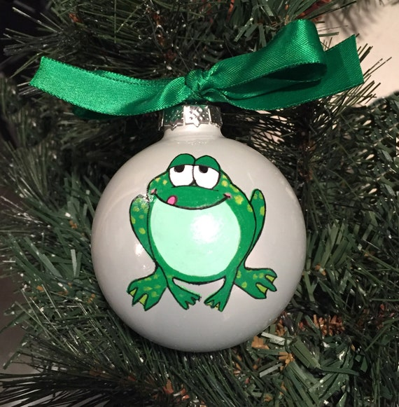 Personalized Hand Painted Frog Christmas Ornament | Etsy