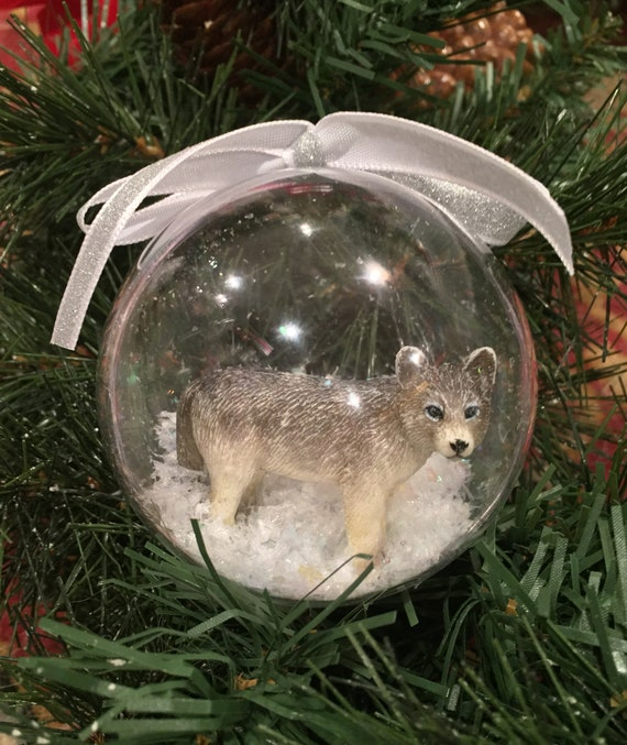 Personalized Snow Globe Wolf Ornament