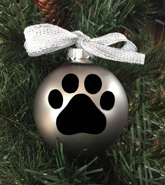 Personalized Paw Print Christmas Ornament - Dog Paw Print Ornament