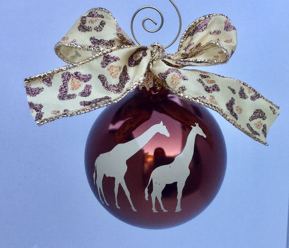 Pair of Giraffe Christmas Ornament - Personalized Giraffe Ornament