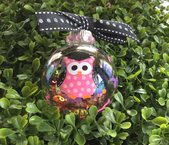 Graduation Ornament - Owl Ornament - Handpainted Ornament