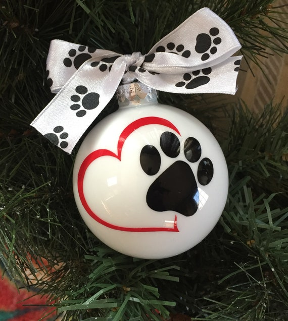 Personalized Dog or Cat Christmas Ornament - Paw Print Ornament - Love your Dog or Cat Christmas Ornament