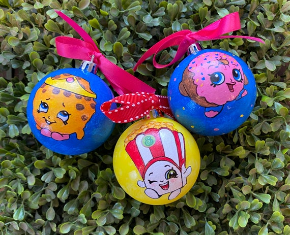 Personalized Set of Three Shopkins Inspired Shatterproof Christmas Ornament