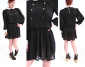 Goth 70s Wednesday Addams Dress BLACK and WHITE Drop Waist Peter Pan Collar Short SHEER Dress small Vintage 70 39 s Pleated Circle Skirt Frock