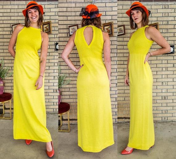 BRIGHT Yellow 60s Column Dress Knit Fitted MAXI Wi