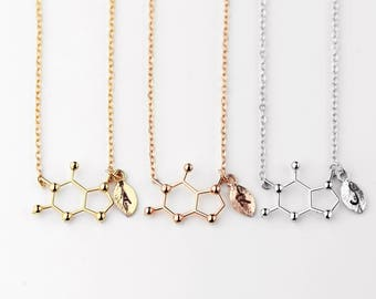 Caffeine Molecule Pendant Initial Necklace Personalized Coffee Lover Necklace Gift Chemistry Necklace Custom Hand Stamped - MCN-L