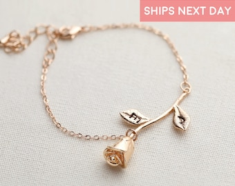 Rose Bracelet Charm Beauty And The Beast Jewelry Girlfriend Gift Autumn