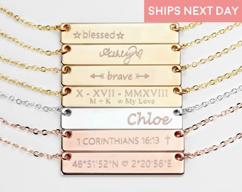 Personalized Bar Necklace Personalized Jewelry Gold Necklace Custom Name Necklace Gift Women - 4N