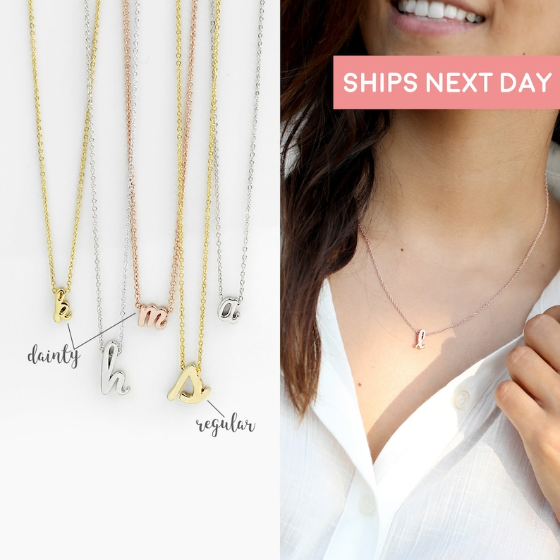 Rose Gold Initial Necklace Chokers Necklace Sorority Gift  image 0