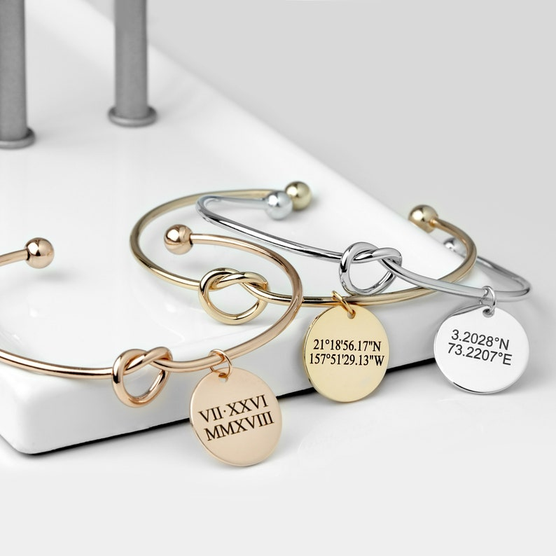 KBR-LC-D-RN Personalized Coordinate Bracelet Gift For Her Graduation Gift for Women Roman Numeral Bracelet For Women Handwriting Jewelry