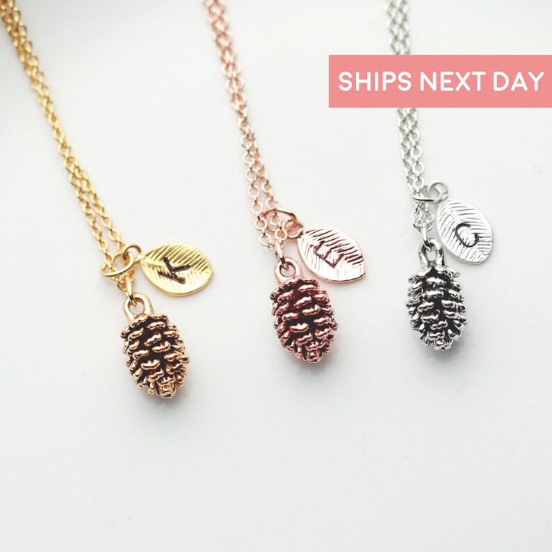 a13cfa41c Rose Gold Pinecone Necklace 3 Best Friend Necklace Kids | Etsy