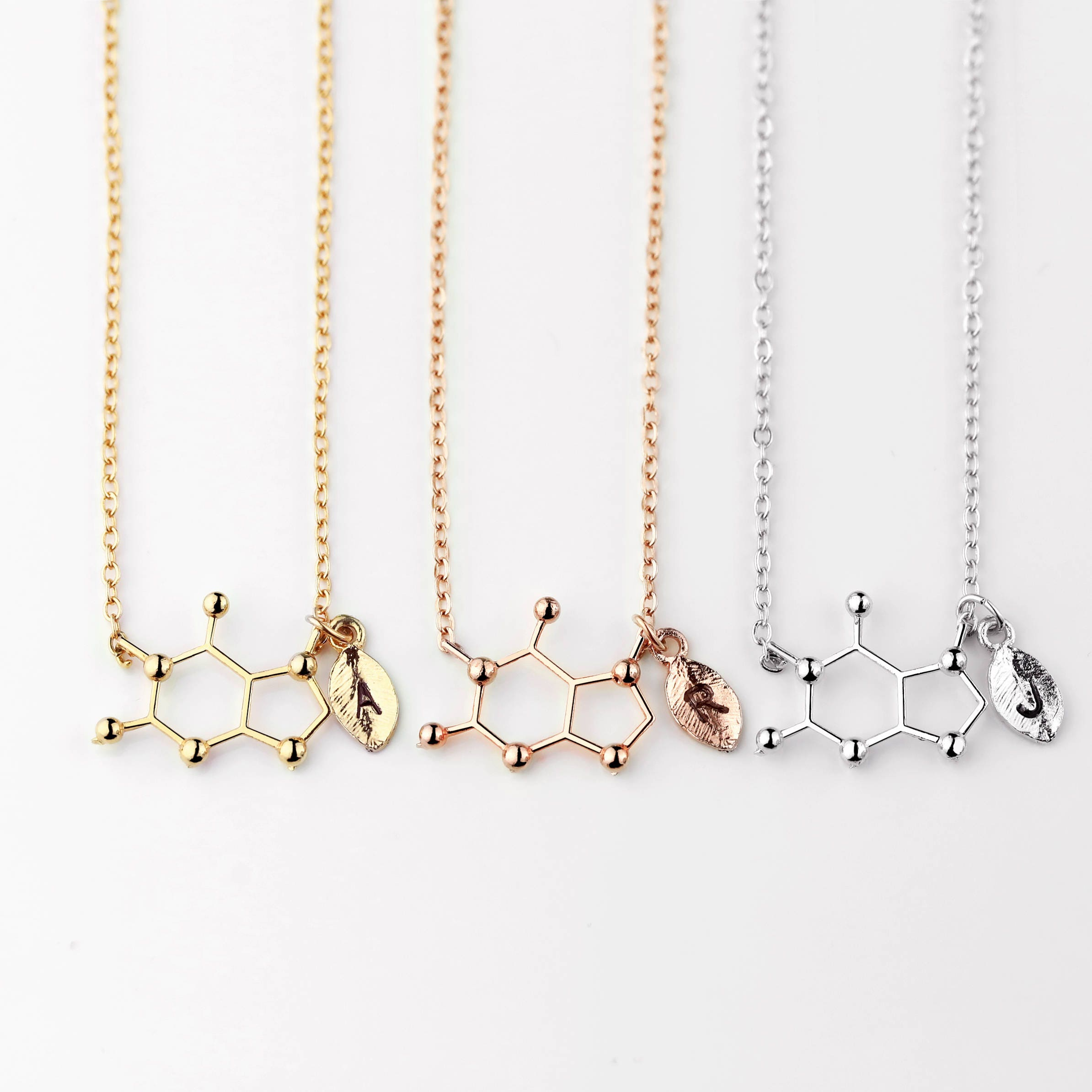 Stocking Stuffers Coffee Lover Gift Coffee Lover Gift Coffee Lovers Caffeine Addict Necklace Geek Gift Caffeine Molecule Necklace