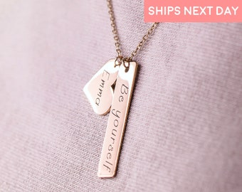Custom Personalized Heart Shaped Engraved Bar Necklace Personalized Gift for Mom Personalized Holiday Gifts Handmade Jewelry Kids Names -H8N