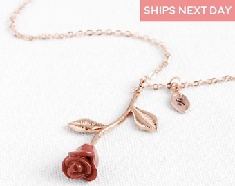 Rose Necklace With Initials Beauty And The Beast Necklace Mothers Day Gift For Women Autumn Gift Gift For Her Flower Jewelry - 3MRN-L