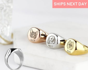 Signet Pet Portrait Ring Personalized Jewelry Dog Lover Christmas Gift Signet Ring Dog Mom Jewelry Dog Memorial Ring - SR-AP