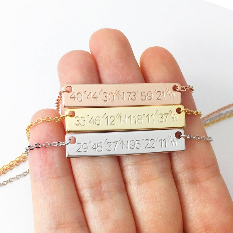 Custom Coordinate Necklace Personalized Jewelry Mom From image 0
