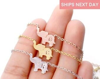 Personalized Elephant Necklace Elephant Jewelry Kids Jewelry Personalized Kids Initial Necklace Baby Girl - SEN