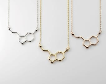 Personalized Serotonin Molecule Necklace Science Jewelry Back to School First Day Gift Birthday Gift For Her Custom Jewelry - MSN