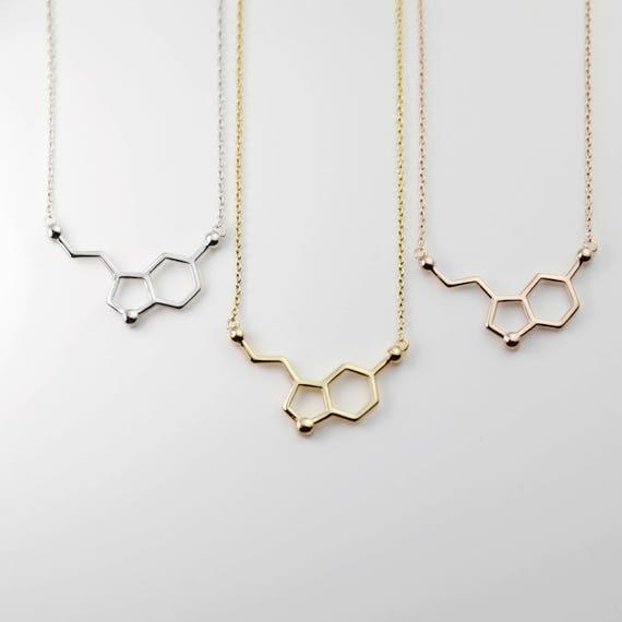 Personalized Serotonin Molecule Necklace Science Jewelry