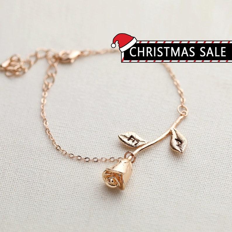 Rose Bracelet Charm Bracelet Bridesmaid Gift Beauty And The image 0