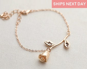 Rose Bracelet Charm Bracelet Bridesmaid Gift Beauty And The Beast Jewelry Best Gift For Her Girlfriend Gift Jewelry Birth Flower - 3MRBR