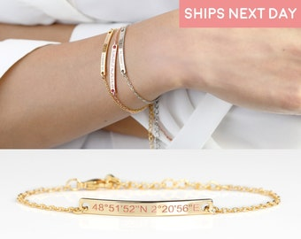 Custom Coordinates Bracelet for Women Gold Bar Bracelet Mothers Day gift for Friends Dainty and Gold - 2BR