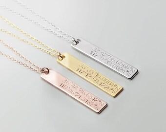 Personalized Gold Bar Necklace Personalized Wedding Gift Gps Coordinates Gift Coordinate Necklace Latitude Longitude- 8N