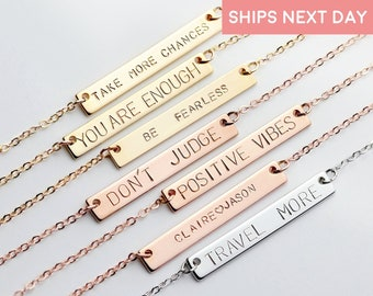 Personalized Necklace Mother Gift Bar Necklace For Women Gift for Best Friend Gift Jewelry Feminist Name Jewelry Coordinate Necklace - 9N
