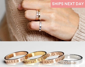 Engraved Rings for Women Personalized Rings Handmade Jewelry Anniversary Gift For Her Name Ring Gold Custom Coordinates  Ring for Women -R4