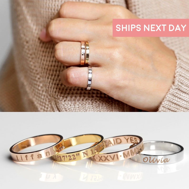 Stacking Rings Engraved Ring Personalized Ring Gold Ring for image 0