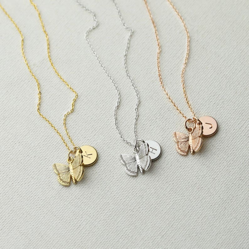 Dainty Butterfly Necklace Gold Butterfly Necklace For Kids Initial Necklace  Kids Jewelry Inspirational Gift Kids Valentines Baby Girl - 3BFN