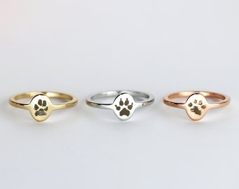 Personalized Ring Pet Paw Picture Engraving Christmas Gift Engraved Ring for Women Dog Memorial Gift Pet Ring - TOR-PAW