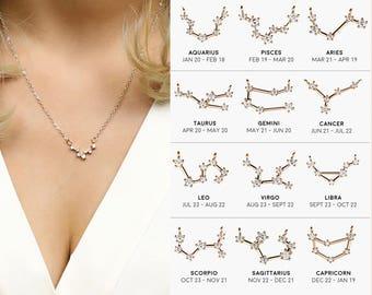 Sagittarius Aquarius Best Friend Gift For Her Crystal Necklaces Aquarius Birthday Gift Aries Necklace Scorpio Libra - ZCPN