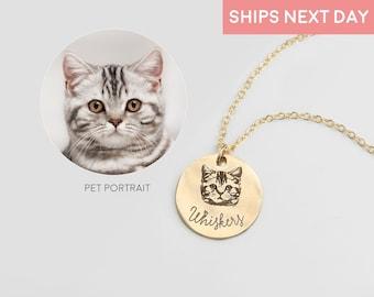 Personalized Jewelry Pet Portrait Custom Necklace Pet Jewelry Personalized Gifts Handmade Jewelry Cat Necklace for Women Pet Necklace LCN-AP