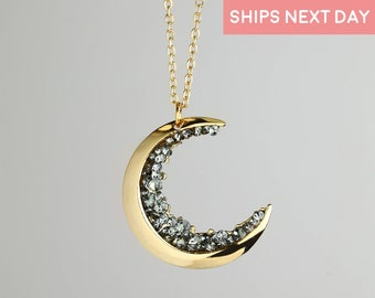 Crescent Moon Necklace Jewelry Celestial Jewelry Gift Holiday Necklace Teacher Jewelry Moon Best Friends Necklace Birthday Gift for Her-ZCMN