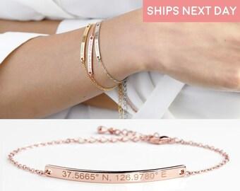 Friendship Bracelet Custom Coordinates Bracelet Engraved Bracelets For Women Under 20 Dollars Personalized Mother of the Bride -12BR