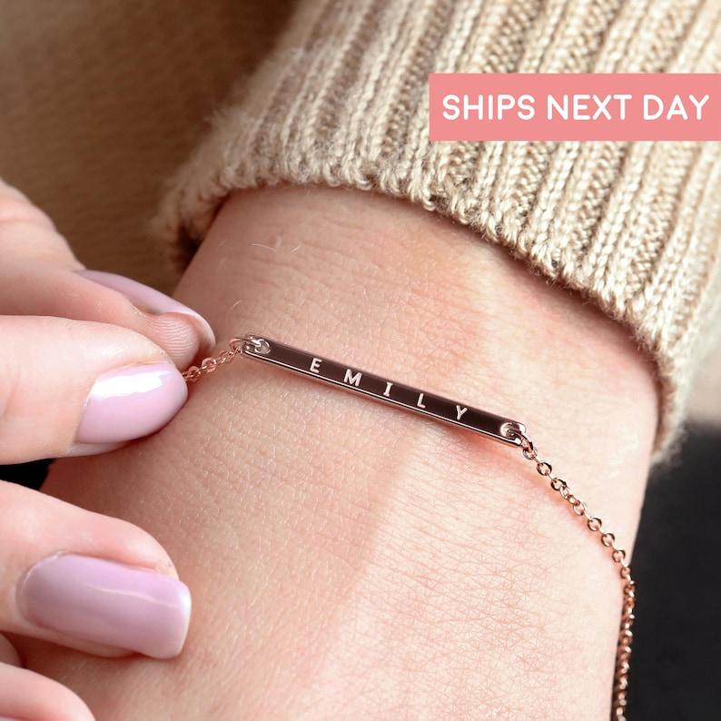 Personalized Bracelet For Women Gold Bar Bracelet Custom image 1