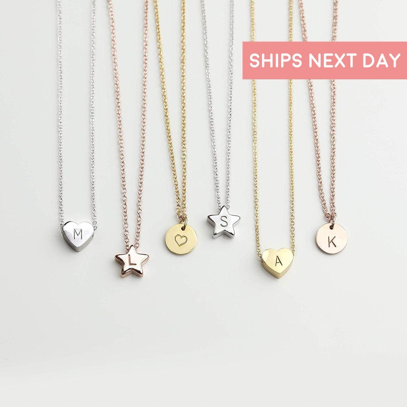 5b9bd1e7e HTS Jewelry Mothers Day Gift HEART STAR DISC Necklace with Initial  Personalized Necklace Baby Girl Kids ...