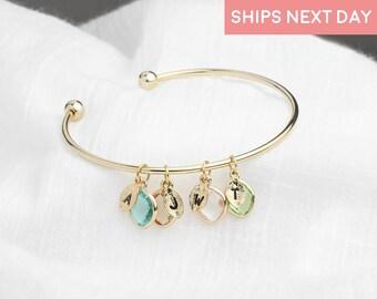 Birthstone Bracelet for Women Opal August Birthstone Jewelry Grammy Bracelet Grandma Gift - BSOBR-L-D