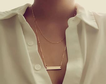 Rose Gold Layered Necklace Gold Necklace Feminist Necklace Layering Necklace Friendship Set - 3LYD *