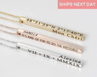 Personalized Vertical Necklace Necklaces for Women Name Jewelry Necklace Bridesmaid Proposal Coordinate Jewelry Friendship Jewelry - 4SBN-D